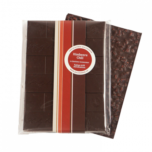 Himbeer-Chili Zartbitter Schokolade, Holzderber