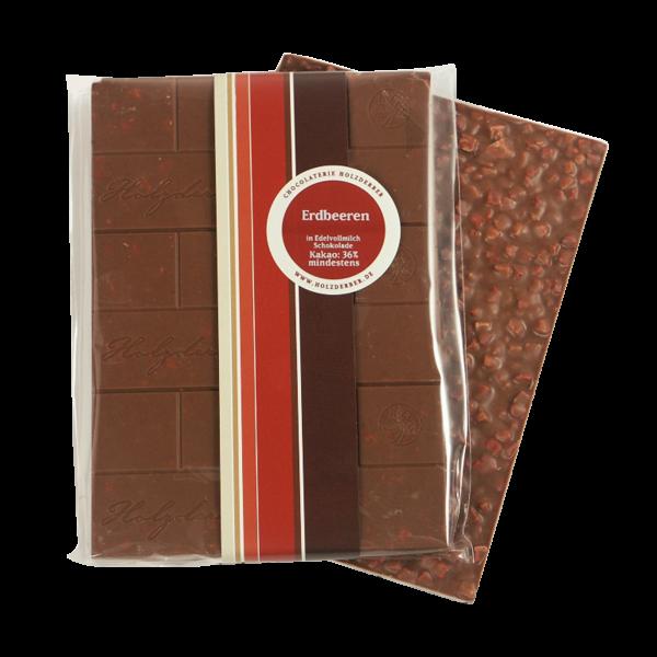 Holzderber Schokolade Erdbeeren in Edelvollmilch